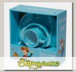 Набор силиконовой посуды для детей AMILA KIDS Голубой