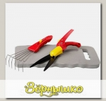 Набор садовый GRINDA 3 предмета (ножницы для стрижки травы, грабельки, подколенник)