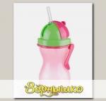 Бутылочка детская с трубочкой c 12 мес. (розовая), 300 мл