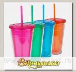 Кружка дорожная для холодных напитков Cool Gear Eco 2Go Color с трубочкой, 600 мл
