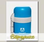 Термос бытовой вакуумный Универсальный с широким горлом Синий (пластик), 600 мл