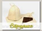 Набор для бани и сауны КЛАССИЧЕСКИЙ в коробке, (шапка, рукавица и коврик)