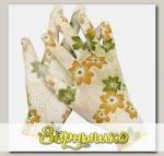 Перчатки садовые бесшовной вязки с полиуретановым покрытием Бело-зеленые GRINDA, размер L