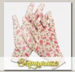 Перчатки садовые бесшовной вязки с полиуретановым покрытием Бело-розовые GRINDA, размер S