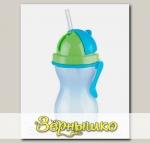 Бутылочка детская с трубочкой c 12 мес. (сине-зеленая), 300 мл