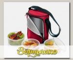Термосумка для переноса еды FRESHBOX, с 3 емкостями 0,8 л (бордовая)
