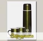 Набор: термос бытовой вакуумный (для напитков), 1000 мл + 2 термокружки, 300 мл Болотный