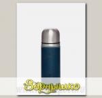 Термос бытовой вакуумный в кожаной оплетке Синий (для напитков), 700 мл