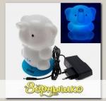 Светильник-ночник аккумуляторный Слоненок на голубой подставке